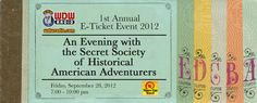 Tickets ON SALE for the WDW Radio E-Ticket Event -An Evening with the Secret Society of Historical American Adventurers on Friday, Sept. 28, 2012 http://WDWRadio.com/ETicket2012