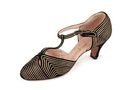 T-strap D'orsay shoes with black satin upper with gold leather stripes, 1920's