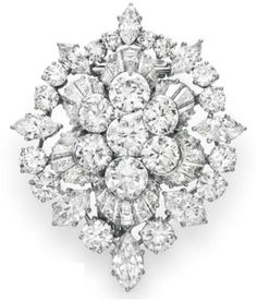 THE BURTON DIAMOND BROOCH A DIAMOND BROOCH, BY VAN CLEEF & ARPELS.  Formerly owned by Elizabeth Taylor. Christie's.