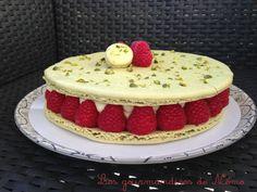 Gâteau macaron pistache et framboises