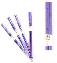 "Purple Chopsticks Set with Fish Design, 9"" long, 4 pair"