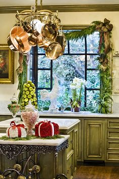 a beautiful kitchen all dressed up for Christmas