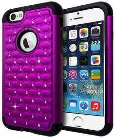 Amazon.com: iPhone 6 Case Shock Resistant Cover - Diamond Rhinestone - Apple iPhone 6 4.7 Inch Case - Heavy Duty Shock Absorbing (Purple): Cell Phones & Accessories