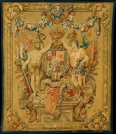 Possibly Daniel Marot the Elder (French, 1661–1752). The Arms of William and Mary, 1694–1700. The Metropolitan Museum of Art, New York. Samuel D. Lee Fund, 1936 (36.57) | This tapestry's festoons of flowers and scantily-clad figures depicts the coat of arms of William and Mary, who ruled England and portions of the Netherlands during the late 17th-century and early 18th-century.  This piece was commissioned on behalf of William. #tapestrytuesday