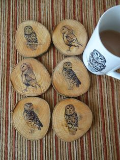 wooden owl coasters #Nightowlhandmade #etsy #art