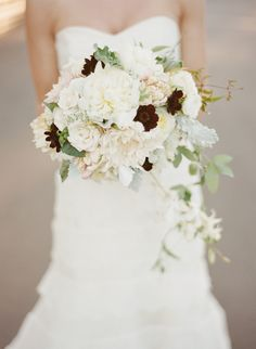beautiful white bouquet of garden roses, dahlias and chocolate cosmos by Daisy Rose