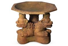 "Orlandi Statuary | Three Foo Dogs Bird Bath, Sandstone | fiberstone construction w/sandstone finish | 18""dia x 20""h | $190.00 retail"