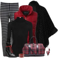 How To Wear Black and Red Houndstooth Legging Outfit Outfit Idea 2017 - Fashion Trends Ready To Wear For Plus Size, Curvy Women Over 20, 30, 40, 50