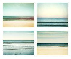 Ocean Photography Set - Four 8x10 Photographs, horizon beach sea seascape teal mint green turquoise aqua pastel seashore wall art print