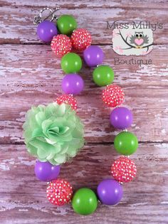 Lime Rose Girls Chunky Gumball Necklace by MissMillysBoutique, $18.00