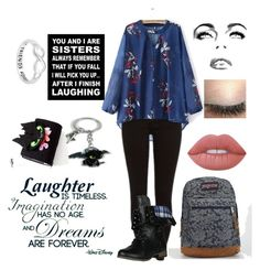 """""""Friends Part 4"""" by choice-to-be ❤ liked on Polyvore featuring JanSport, Lime Crime and Disney"""