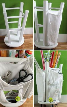 20 Creative Furniture Hacks -- LOVE this! Even has wheels on the bottom so it's easy to move around.