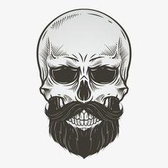 Vector de Barba., O Crânio, Material Da Cabeça, A Linha A Preto E Branco. PNG e Vector