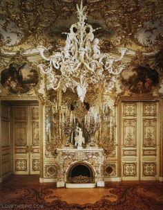 Golden Palace mansion gold castle details rich fireplace chandelier