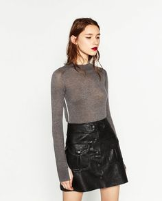 Image 3 of FAUX LEATHER MINI SKIRT from Zara