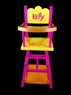 2001 Rare Mattel Cuddly Soft KELLY Baby Doll Convertible High Chair Feeding Table Barbie JENNY