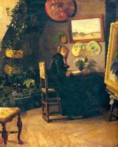 Kielland,+Kitty+(1843-1914)+Atelier+Interior+(Harriet+Backer).jpg (500×624)