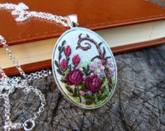 Embroidered roses necklace Pendant Cameo by EmbroideredJewerly