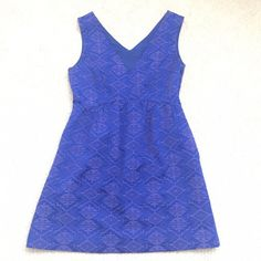 ✨NEW LISTING✨ Anthropology blue dress Purchased from Anthropology. Brand name Maeve. Like new and in excellent condition. Super fun electric blue dress with Aztec-style detail. Very flattering, size 8P. Did I mention this dress also has pockets!!! Anthropologie Dresses