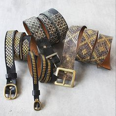New belts from Calleen Cordero just hit the website! Studded and distressed in patterns mimicking reptiles... we love them! Shop these and m