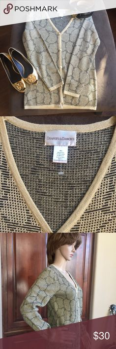 Draper's & Damon's sparkly sweater PS Geometric prints Black and Tan button down sweater with gold threads and buttons.  NWOT Draper & Damons Sweaters Cardigans