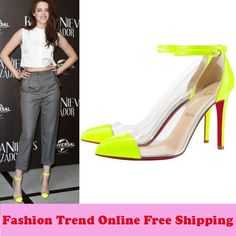 2013 Spring Autumn Fashion Red Bottom Transparent Patchwork Pointed Toe High Heels Women Pumps Ladies Pumps Sapatos Single Shoes $32.15