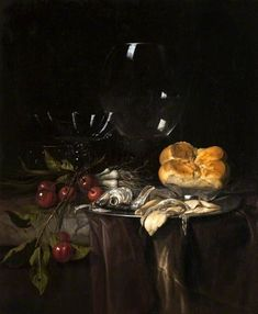 Still Life: Herring, Cherries and Glassware  Willem van Aelst (1627–after 1687), 1680, oil on canvas, 50.2 x 42.5 cm   Kelvingrove Art Gallery and Museum