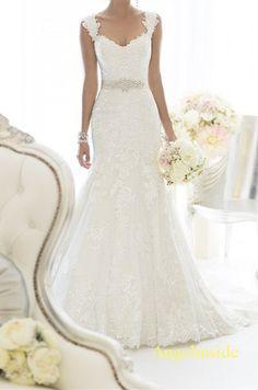 Lace Wedding Dress Mermaid Wedding Dress Beaded by Angelinside, $250.00