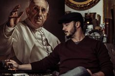 Roberto Ferri Artist with his Papa Francisco (2014)