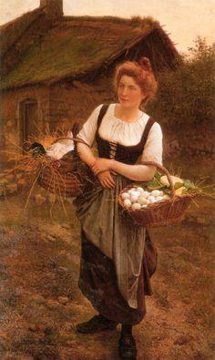 """Gustave Boulanger: """"La Fille De Ferme"""", 1862, Oil on canvas, Private collection"""