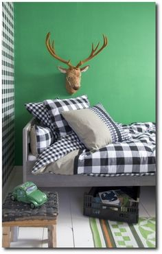 A Perfect Boys Bedroom With Classic Swedish Check By Bibelotte Keywords:French Kids, Kids Room Decor, Scandinavian Style, Nordic Style, Norw.