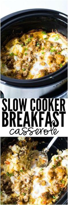 Slow Cooker Breakfast Casserole, great for a crowd and easy to do. Crockpot Breakfast Casserole, Slow Cooker Breakfast, Breakfast Dishes, Breakfast Time, Casserole Recipes, Breakfast Recipes, Breakfast Ideas, Brunch Ideas, Overnight Breakfast