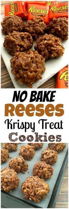 original_title] – Camelia Recipes No Bake Reeses Krispy Cookies! No Bake Reeses Krispy Cookies! Candy Recipes, Sweet Recipes, Baking Recipes, Cookie Recipes, Reese's Recipes, Snack Recipes, Dessert Recipes, Chicken Recipes, Plated Desserts