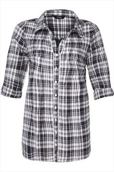 Black+And+White+Checked+Shirt+With+Pleat+Detail+47975