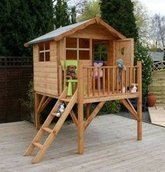 Childrens Raised Pine Wood Play House with Balcony for Kids £347
