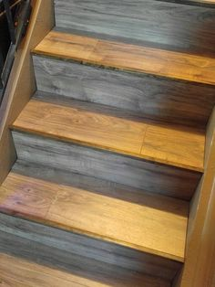 We added dark stained corner trim board to each stair edge to give it a nice finish, before we added a runner carpet. Stairs Edge, Trim Board, Stair Makeover, Pink Carpet, Wood Laminate, Wood Trim, Staircases, Rug Runner, Corner