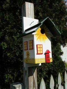 Birdhouse  Yellow Sunflower Home and Garden Cottage by billzbirdz, $79.00