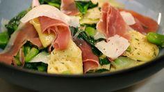 Eén - Tortellini met Belgische kaas, tuinbonen, Sint-Eloyham en spinazie