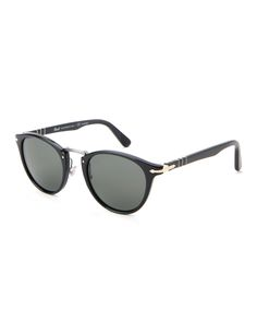 Persol Black PO3108 Typewriter Edition Retro Round Sunglasses