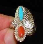 Vintage Sterling Ring Native American Coral Turquoise Navajo Jewelry