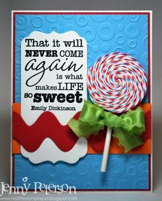 lollipop card with Bazzill for Ribbon Carousel. Sugar Rush, American Crafts, Love Cards, Homemade Cards, Birthday Cards, Card Making, Paper Crafts, Carousel, Invitations