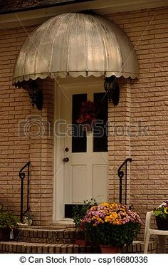 Dome Awnings for Front Doors | Stock Photo - Retro metal door canopy - stock image & black front door u0026 #awning with #white trim | Exteriors: Entrance ...