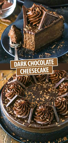 This Dark Chocolate Cheesecake is rich, creamy and full of decadent dark chocolate! It's topped with a dark chocolate ganache and dark chocolate ganache swirls for the ultimate chocolate cheesecake! Chocolate Cheesecake Recipes, Brownie Desserts, Easy Cheesecake Recipes, Köstliche Desserts, Delicious Desserts, Dessert Recipes, Dark Chocolate Recipes, Ultimate Cheesecake, Chocolate Making