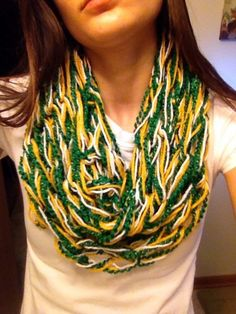 Arm-Knit Green Gold and White Infinity Scarf // Green Bay Packers Scarf // Alaska // NDSU Packers Memes, Packers Funny, Packers Gear, Greenbay Packers, Packers Football, Crochet Scarves, Knit Crochet, Green Bay Packers Fans, Arm Knitting