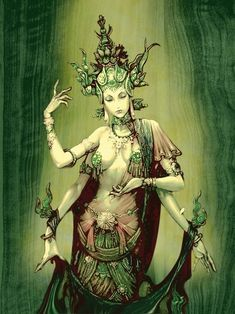 Green Tara Green Tara is iconographically depicted in a posture of ease and readiness for action. While her left leg is folded in the contemplative position, her right leg is outstretched, ready to spring into action. Green Tara's left hand is in the refuge-granting mudra (gesture); her right hand makes the boon-granting gesture. In her hands she also holds closed blue lotuses (utpalas), which symbolize purity and power. She is adorned with the rich jewels of a bodhisattva.