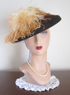 1940's Chocolate Brown Wool Tilt Hat with Ostrich Feathers - in original box.