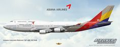 Asiana Airlines Boeing 747-48E HL7418. Airliners Illustrated® by Nick Knapp©.