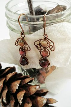 Rhodonite Stone Earrings, Red Jasper Earrings, Made in Michigan Gifts, Natural Stone Jewelry, Gift For Nature Lovers by JujusNature on Etsy