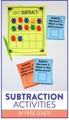 Looking for some new hands on subtraction activities?! Head over to the blog post to see tons of ideas, activities, and anchor charts to help students gain a better understanding of subtraction in kindergarten, first and second grade.