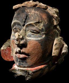 Maya portrait head  AD 300–900  Uxmal, Mexico  Stucco, paint